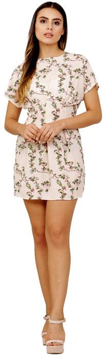 Beige Floral Printed Summercool Dress