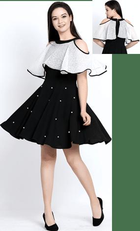Black Moss Crepe Poncho Style Dress-Pearl Beaded