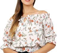 Beige Floral Printed American Crepe Top
