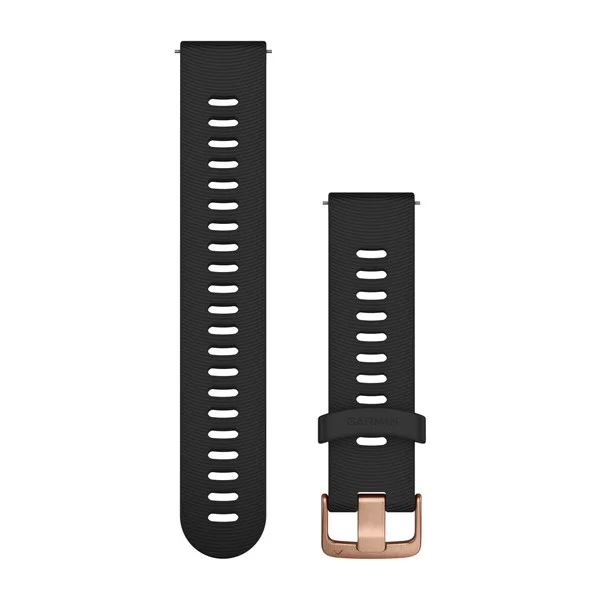 GARMIN QUICK RELEASE BAND, BLACK SILICONE, ROSE GOLD BUCKLE (20MM) - 010-11251-1H