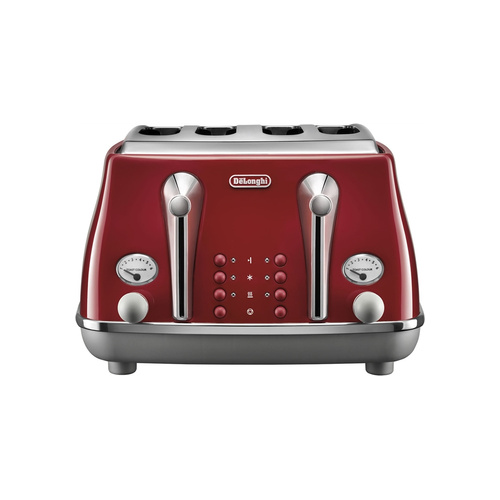 Delonghi Icona Capitals 4 Slice Toaster - Tokyo Red