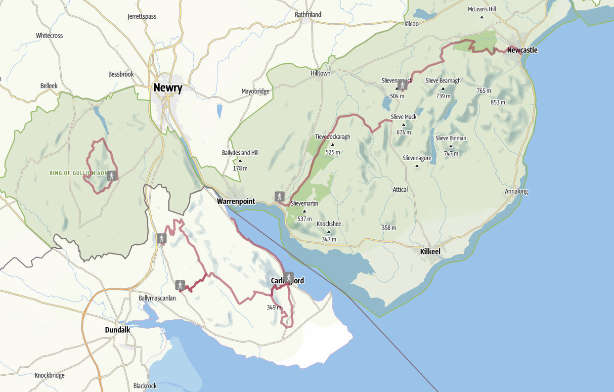 map of cooley and mourne hillwalks