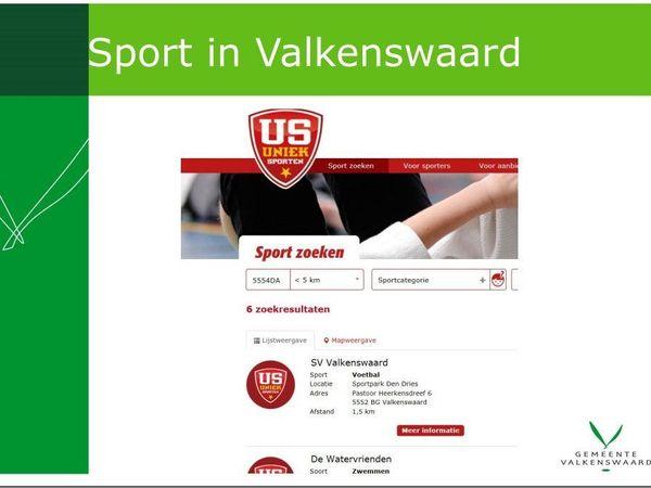Zoekpagina van website Uniek Sporten met resultaten van sporten in Valkenswaard