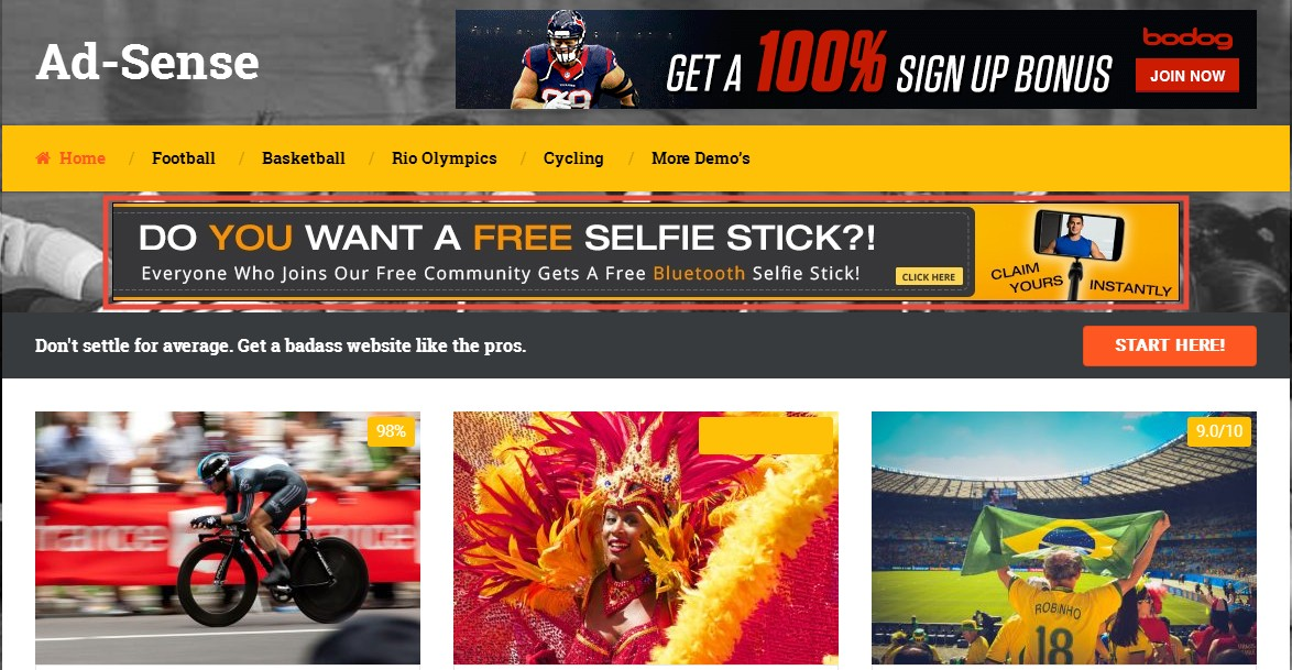 header ad adsense wordpress theme
