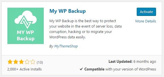 Add Plugins MyWPbackup
