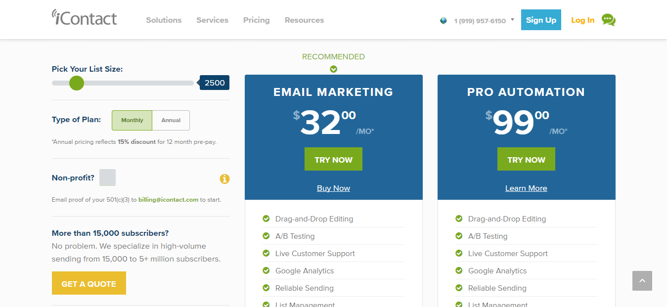 Email Pricing Page New Icontact