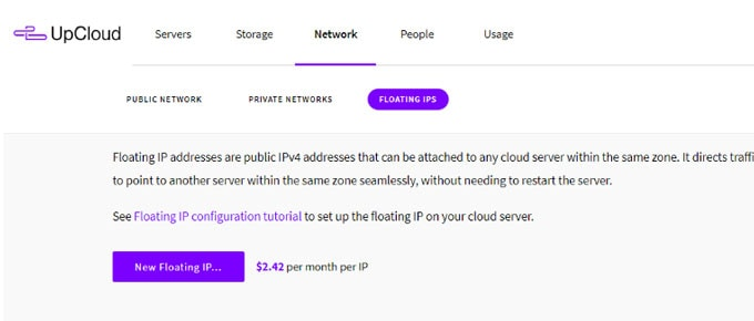 UpCloud Review - Floating IPs
