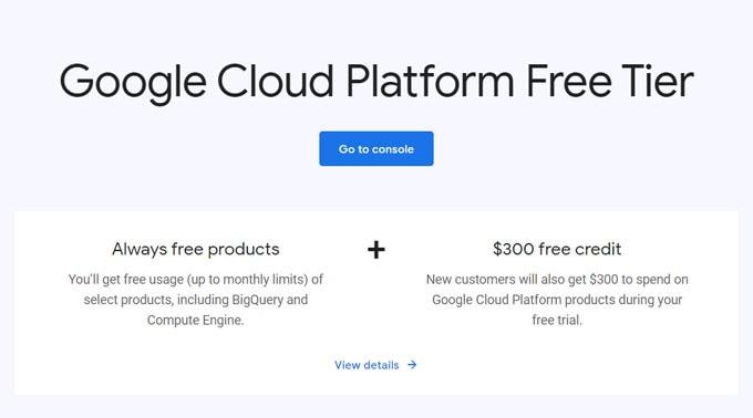 Google cloud platform free tier