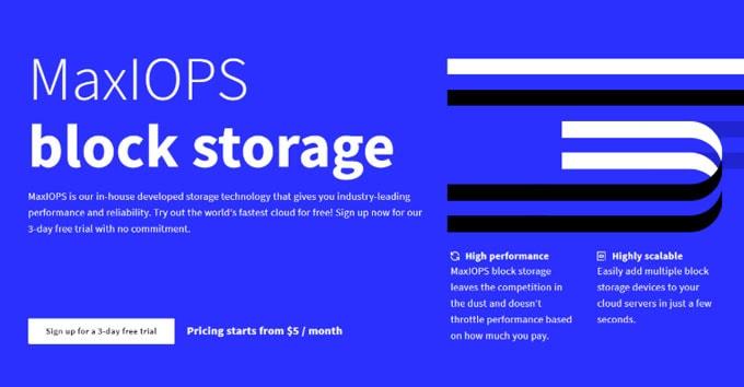 MaxIOPS block storage servers of UpCloud