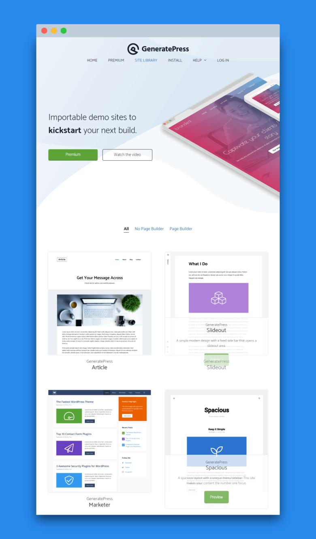 Site Library GeneratePress Elementor Ready Themes