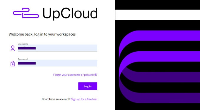 Upcloud review - login to start deploying a server