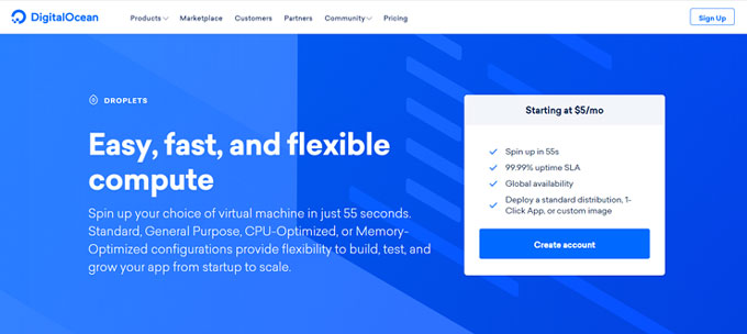 Digitalocean review its homepage