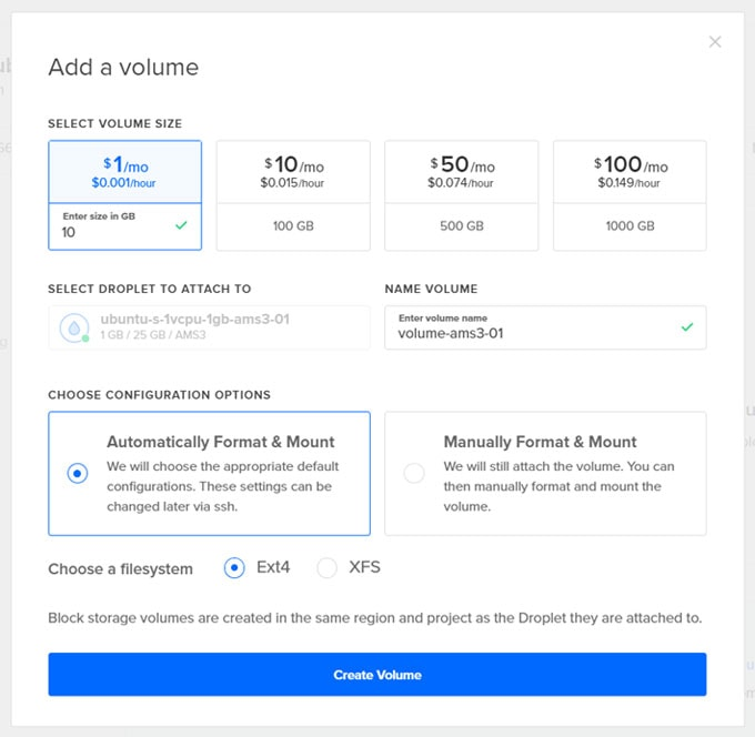 new volume configuration in DigitalOcean