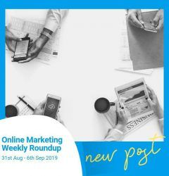 online marketing weekly roundup image from above of four people checking phones and tablets
