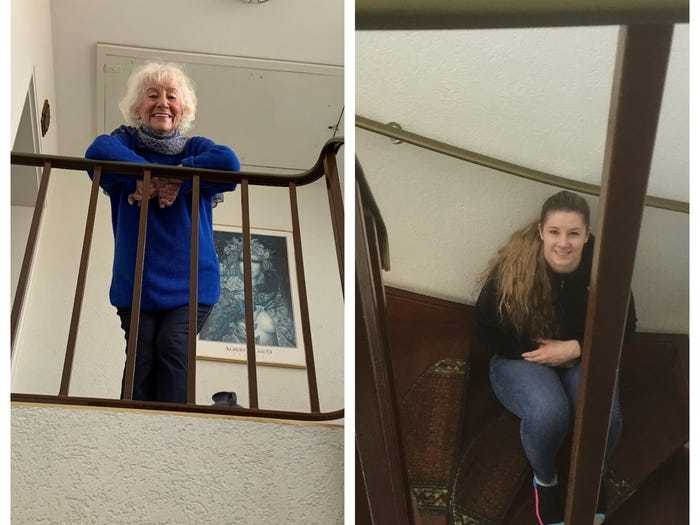Social distancing photo gallery - elderly and teenager speaking through staircase