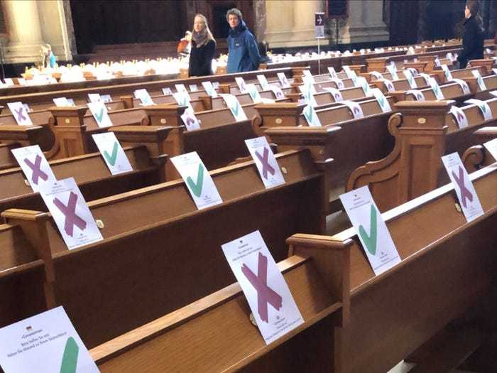 Social distancing photo gallery - benches in German church