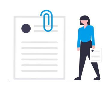 Trading Online Voucher - woman standing next to giant curriculum vitae