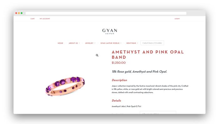 ecommerce website design jewellery product