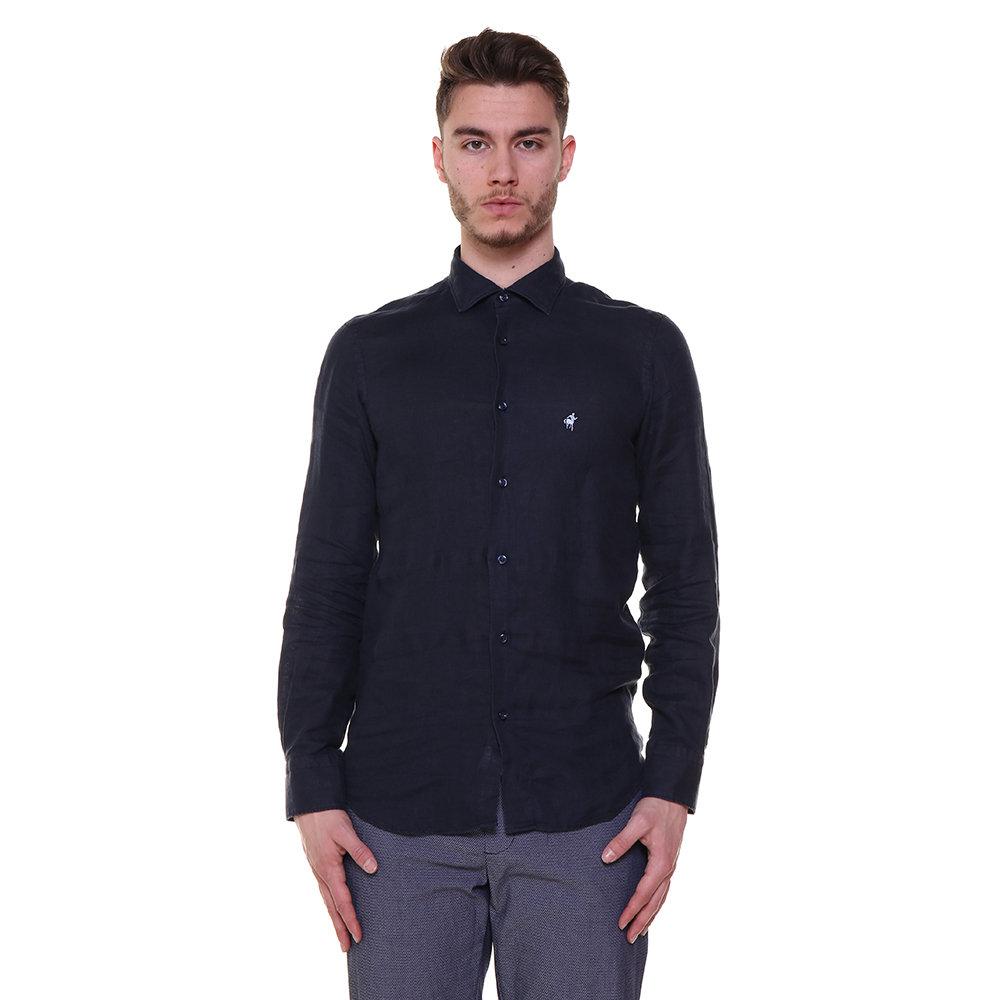 9ea5de4480 Camicia in lino a tinta unita blu notte - RODRIGO - Acquista su Ventis.