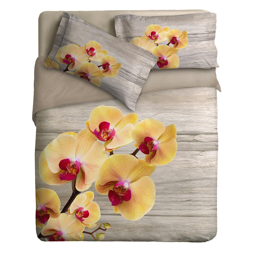 Copripiumino Orchidea.Parure Copripiumino Disegno Orchidea Soffice Primavera