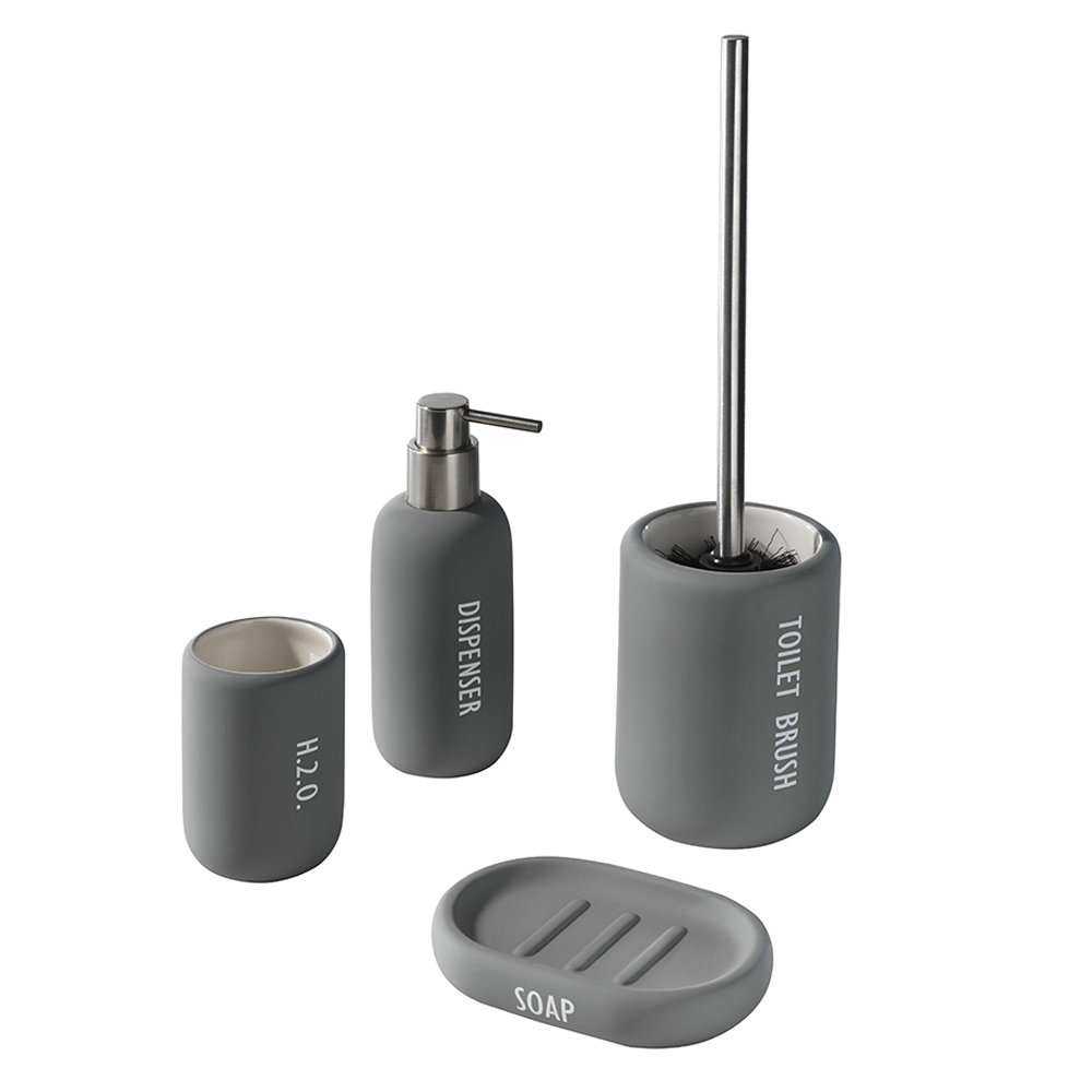Set 4 pz, accessori bagno ceramica grigio - Bathroom Inspiration TFT ...