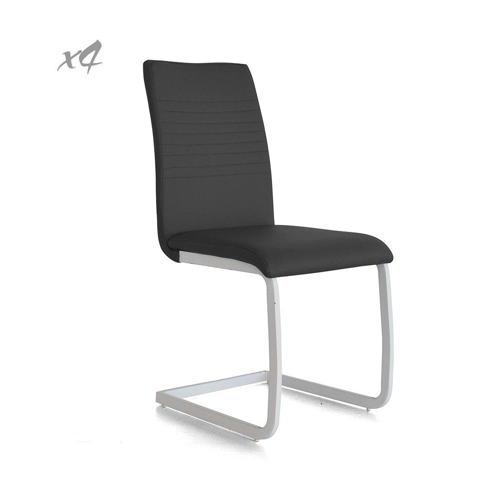 Set 4 sedie lounge in similpelle grigio cribel for Sedie in similpelle