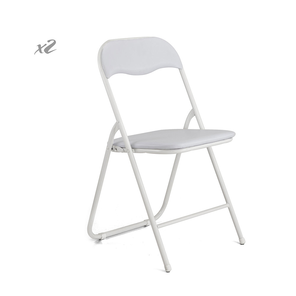 Set 2 sedie slim pieghevoli in similpelle ghiaccio for Sedie in similpelle