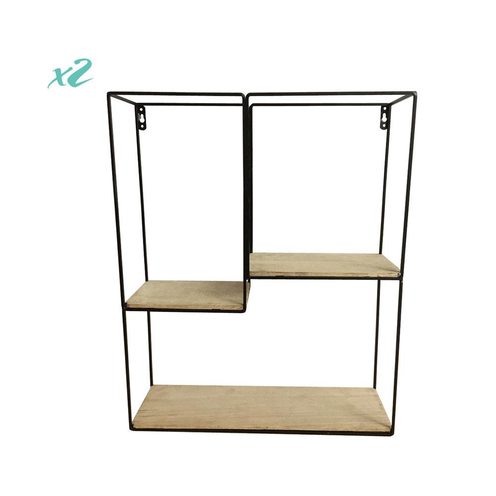 Set di 2 porta oggetti da parete 73x46 in metallo legno for Oggetti da parete design