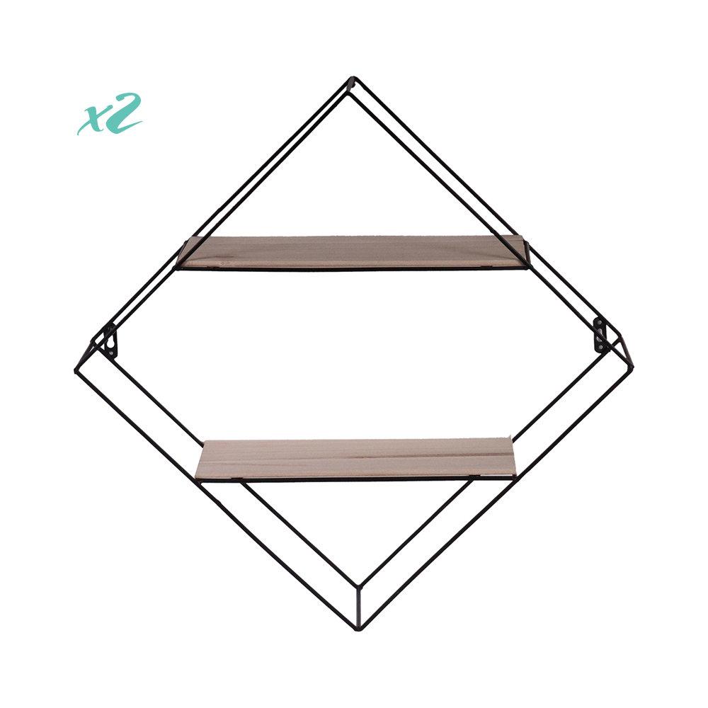 Set di 2 porta oggetti da parete 37 5x37 5 in metallo legno loft design acquista su ventis - Oggetti di metallo in casa ...