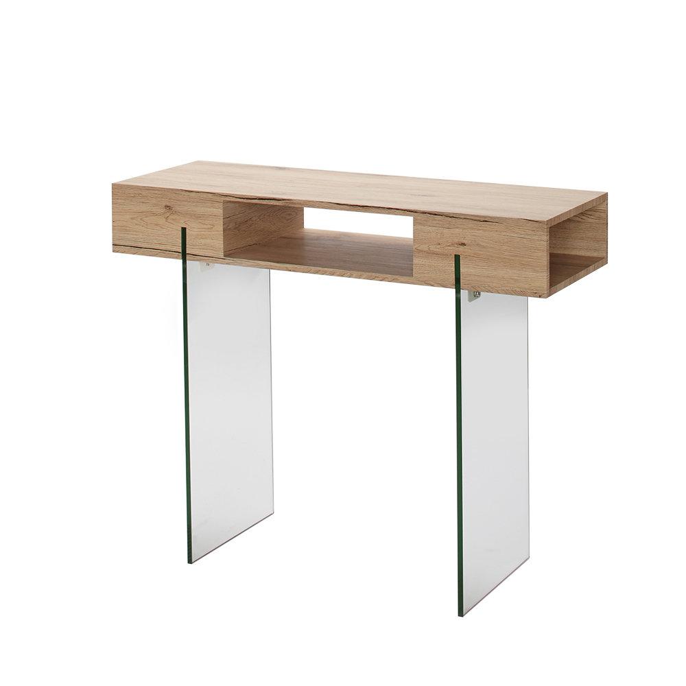 Tavolo Consolle,vetro e legno naturale - Loft Design - Acquista su ...