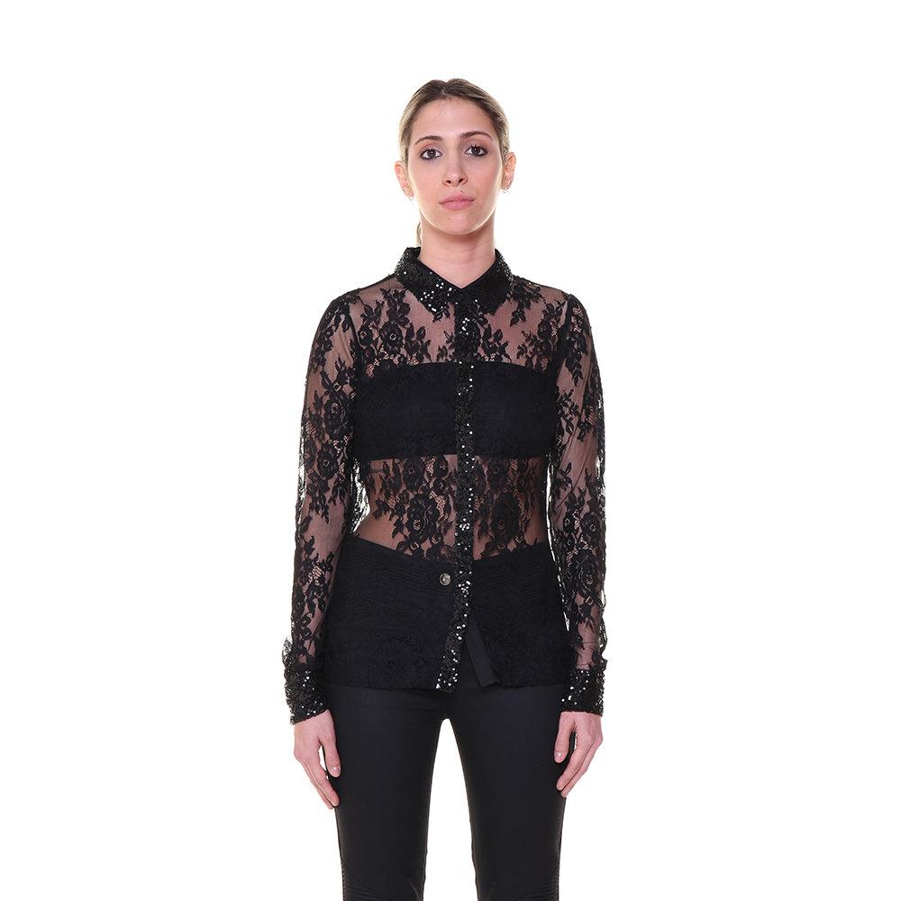 finest selection 2cd94 17681 Camicia trasparente con inserti in pizzo nera - Guess - Acquista su Ventis.