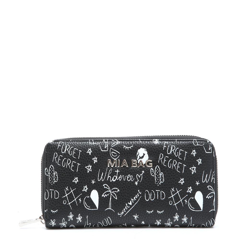 ed3698d47f Portafoglio con scritte nero - MIA BAG - Acquista su Ventis.