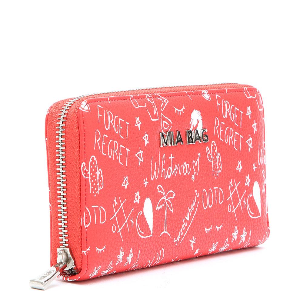 b823c7747a Portafoglio con scritte rosso - MIA BAG - Acquista su Ventis.