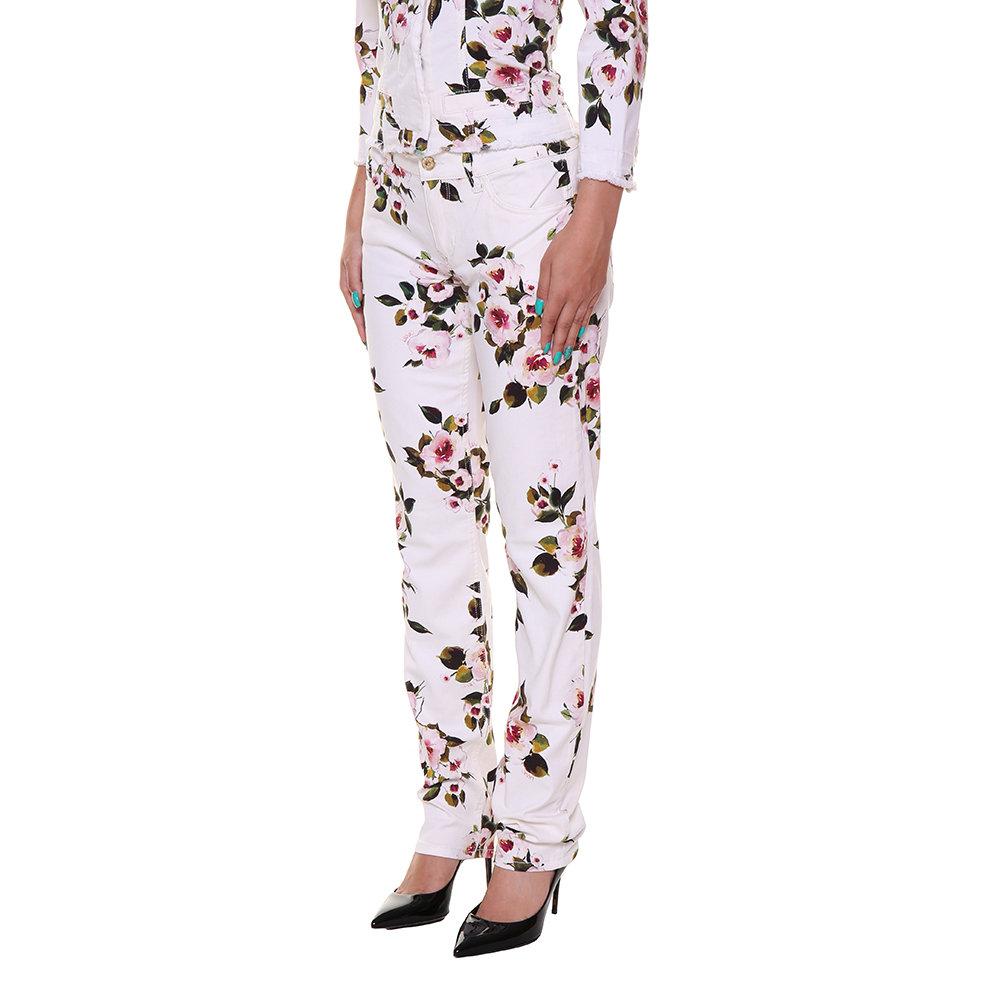 Pantaloni in cotone a fantasia bianchi - Liu-Jo P E - Acquista su Ventis. b3fbe5b1e53