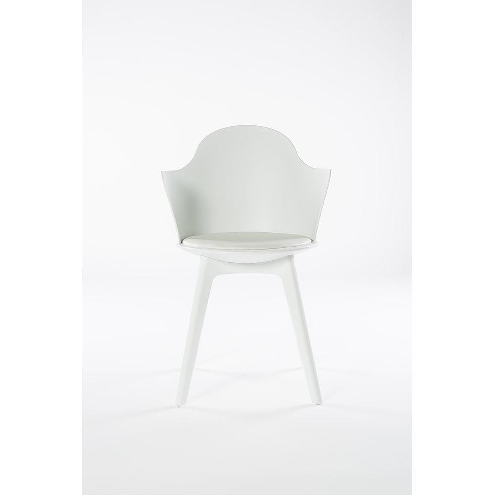 Set da 2 sedie pranzo con braccioli varsavia bianco for Sedie da ufficio milano