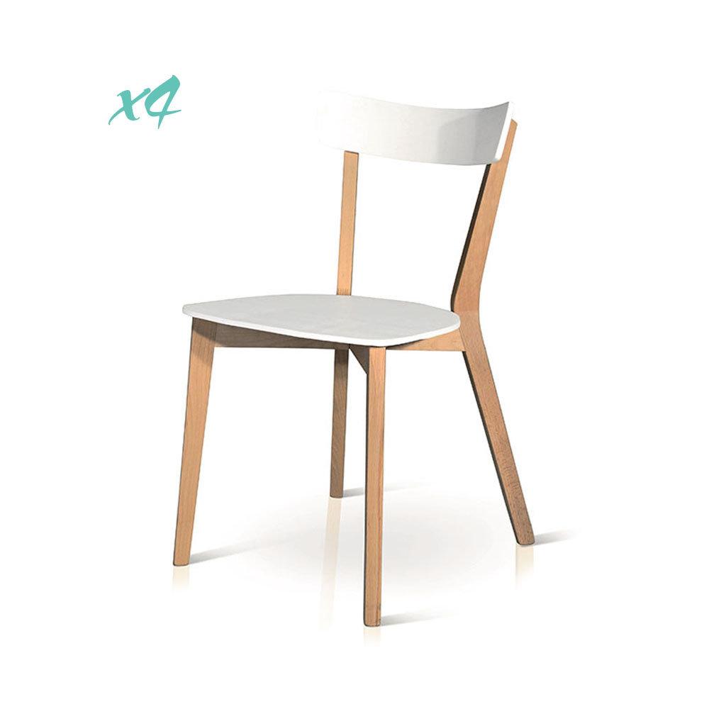 Set da 4 sedie, bianco - Tempi moderni, legno - Acquista su Ventis.