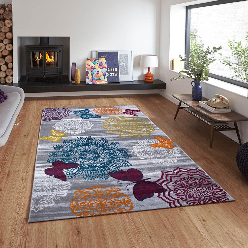 Tappeto evrim grigio tappeti moderni acquista su ventis - Tappeti da bagno moderni ...