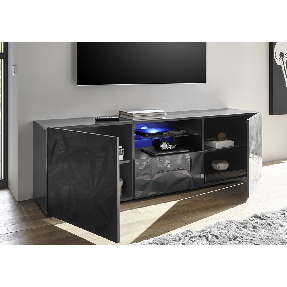 Porta tv praga nero tft grey acquista su ventis - Porta tv nero ...