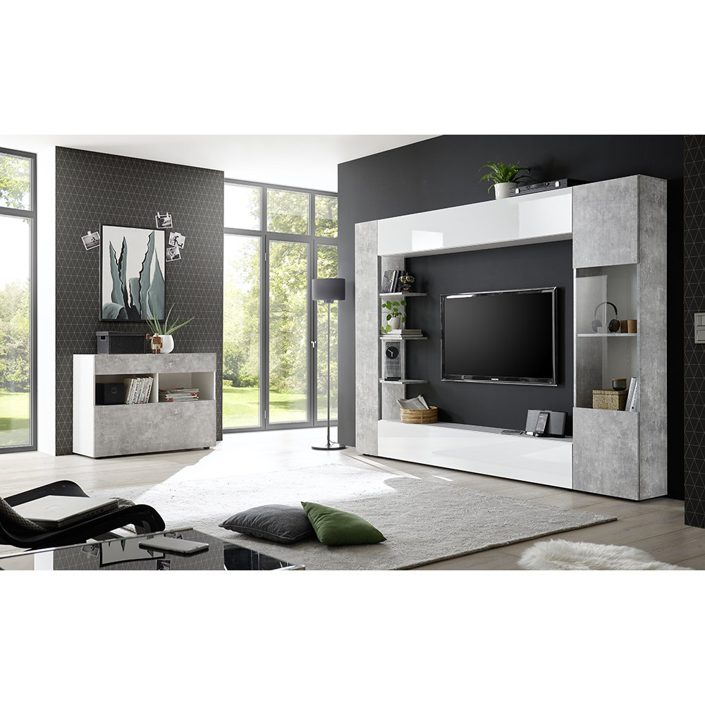 composizione living akira bianco cemento tft grey