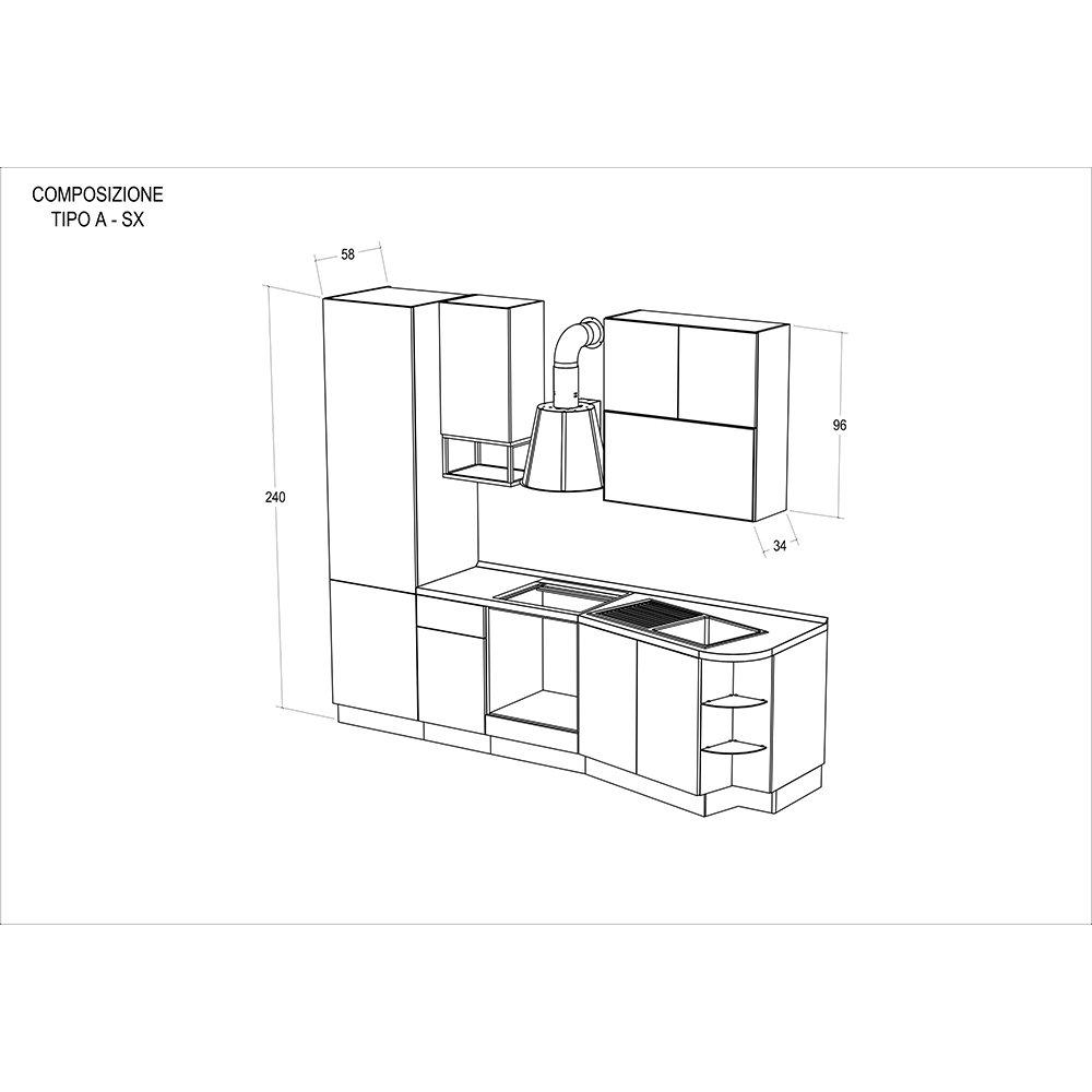 Cucina modello LILLY - composizione A sinistra - Cucine by Tomasucci -  Acquista su Ventis.