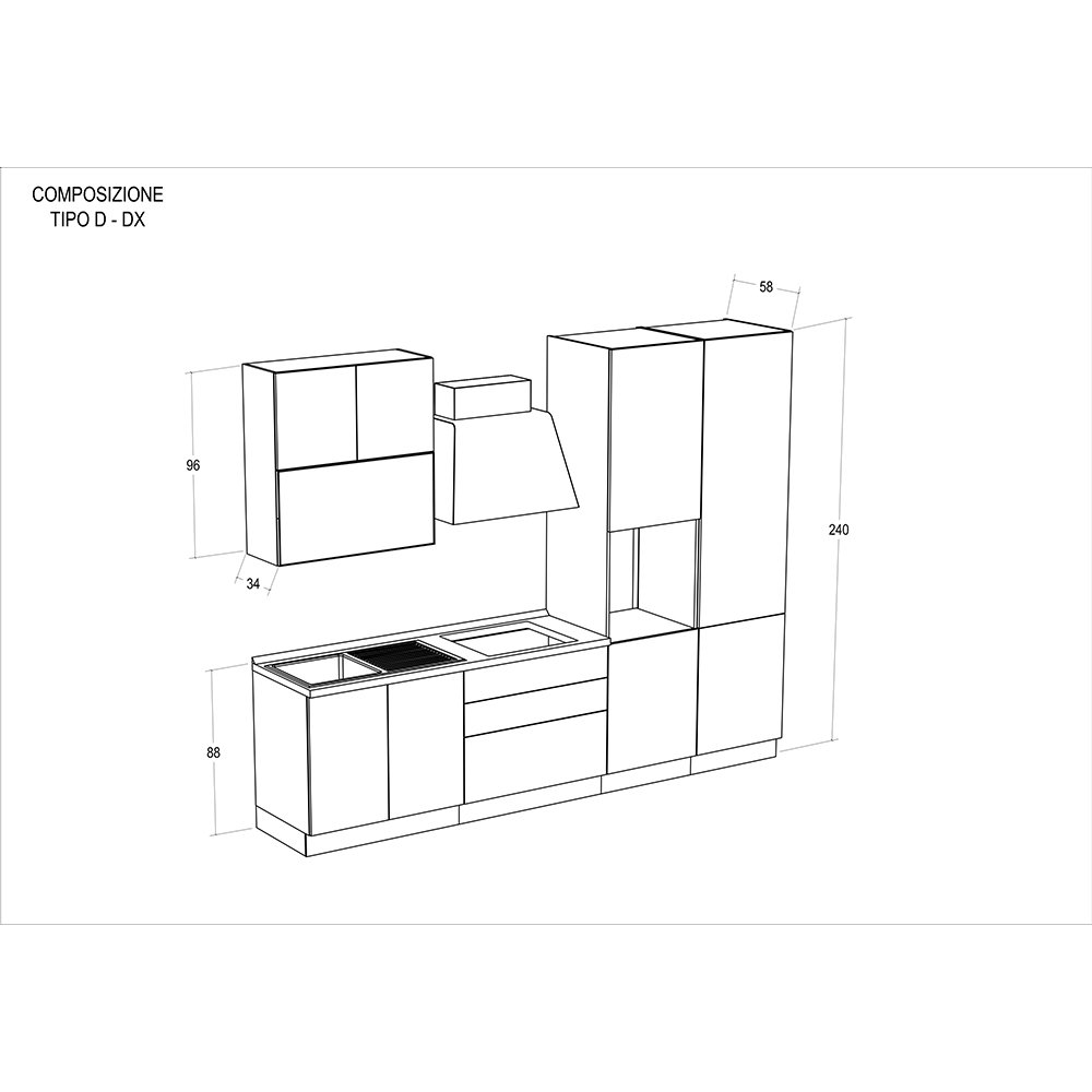 Cucina modello SISSY (predisposizione lavastoviglie) - composizione ...