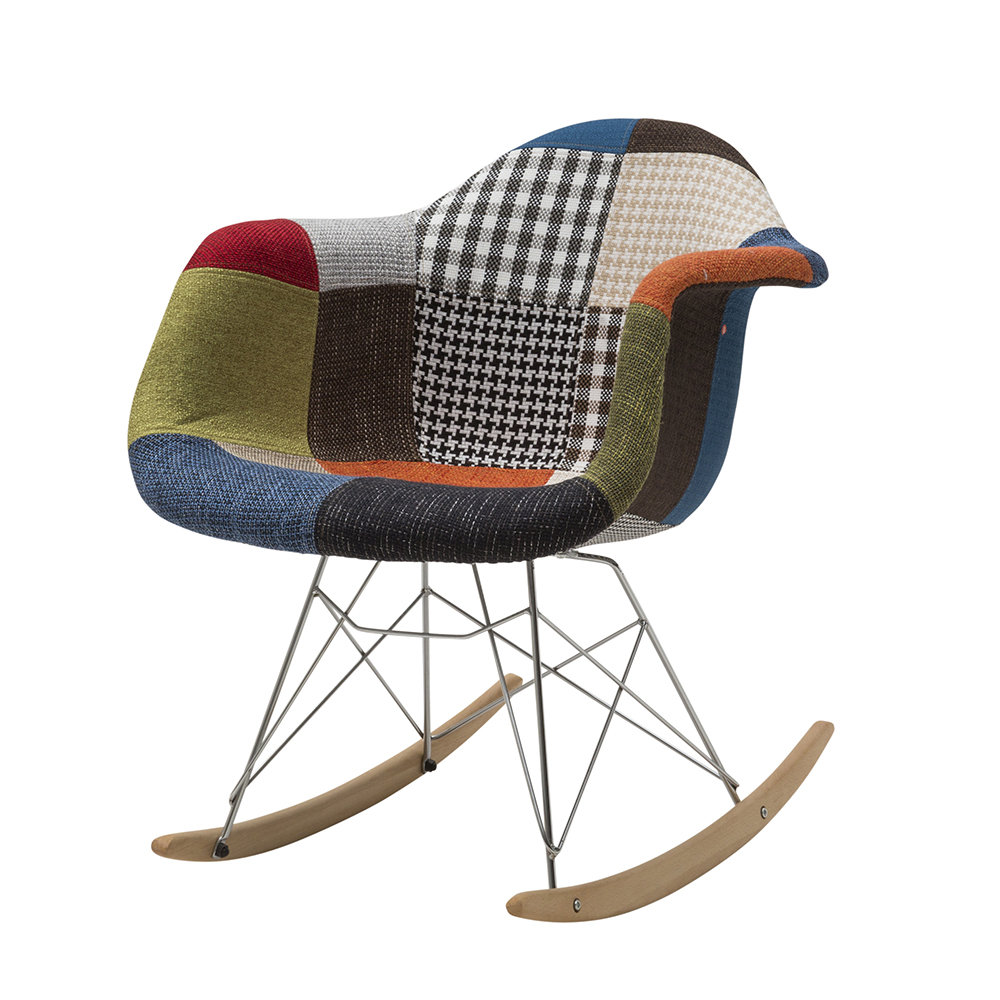 Sedia a dondolo, tessuto patchwork - Sedie in patchwork