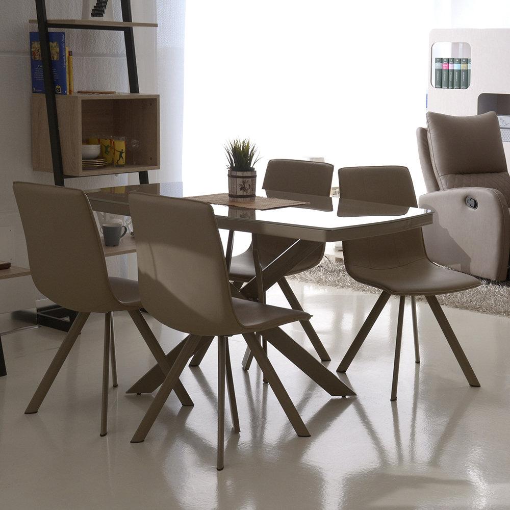Set vogue tavolo tortora 4 sedie tortora tuoni for Sedie design tortora