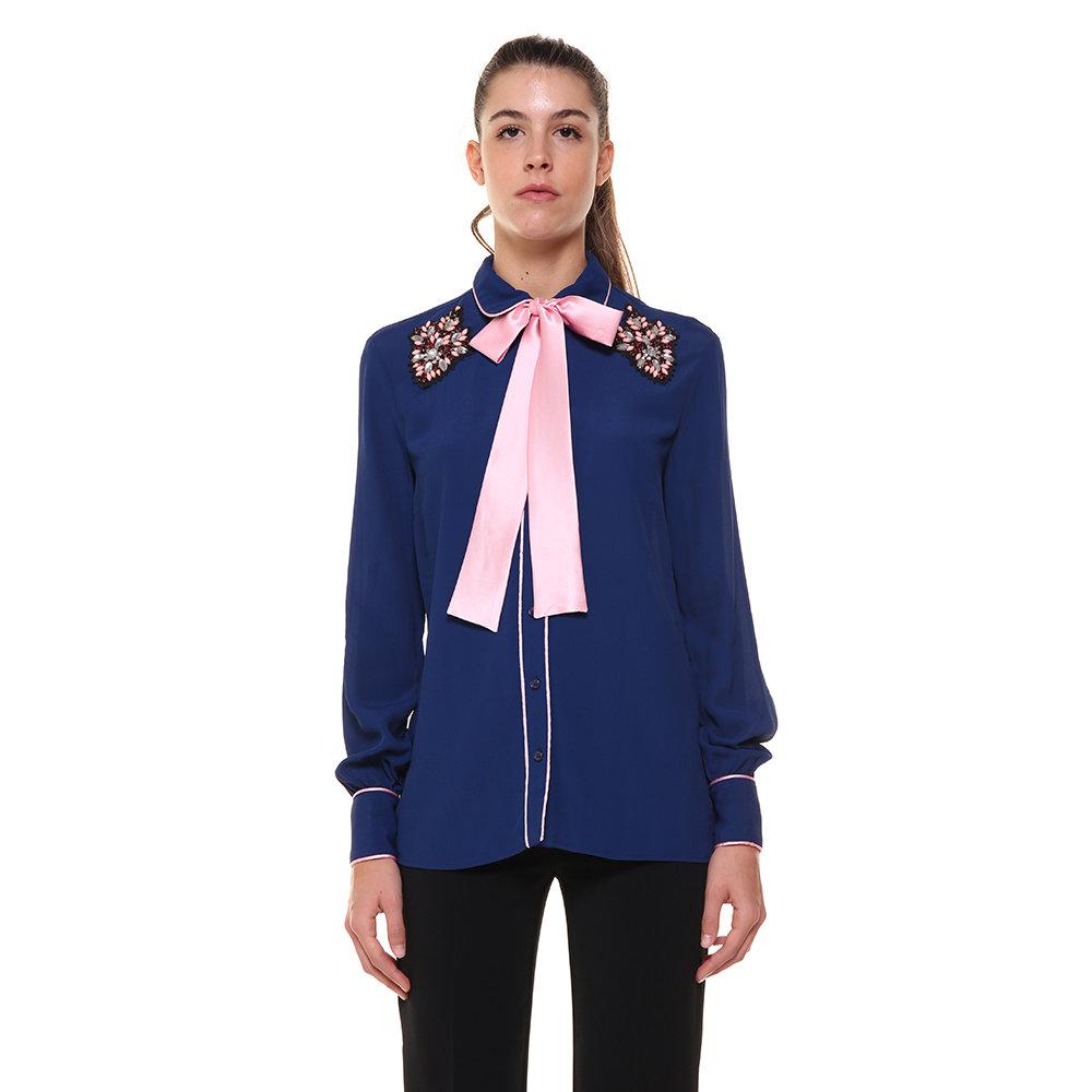Camicia blu con nastro rosa Pinko AI Acquista su Ventis.