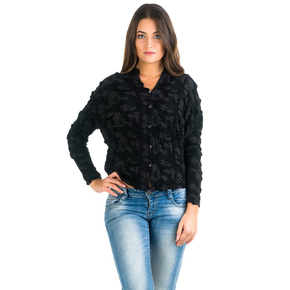 Maglia con bottoni frontali nera Simona Sole Abbigliamento Acquista su Ventis.