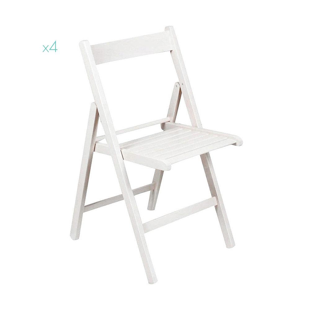 Sedie Pieghevoli Per La Casa.Set Da 4 Sedie Pieghevoli In Legno Bianco Speciale Casa Total