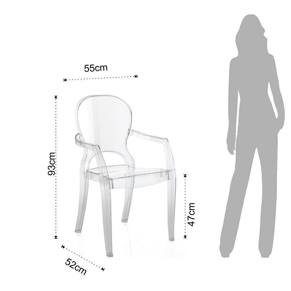 Set da 2 sedie con braccioli in policarbonato da interno ...