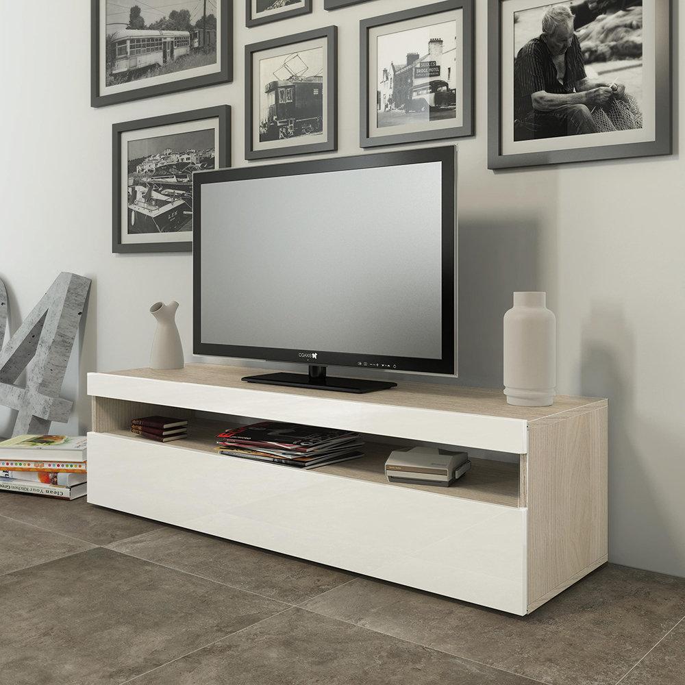 Madia porta TV SONNY, bianco e rovere - Nordic Trend - Acquista su Ventis.