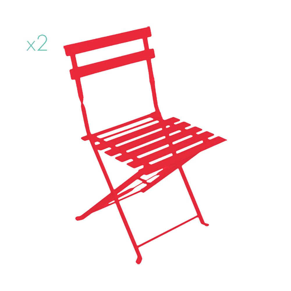 Sedie Pieghevoli In Ferro.Set 2 Sedie Pieghevoli In Ferro Rosso Sole Caldo Giardino V