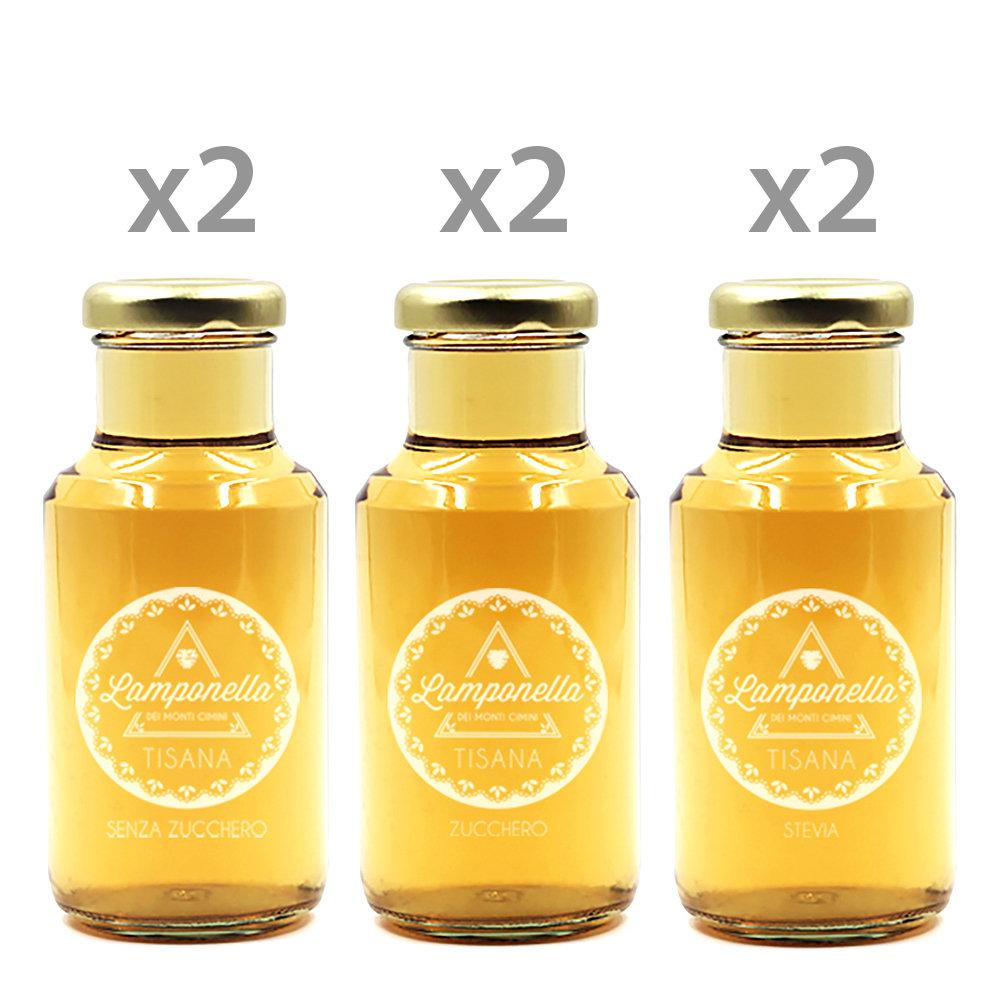 Image of 6 bottigliette Lamponella miste 200ml: Senza Zucchero - Zucchero - Stevia